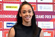 Katarina Johnson-Thompson (GBR) at a press conference prior to the Grand Prix Birmingham in an IAAF Diamond League meet in Birmingham, United Kingdom, Friday, Aug. 17, 2018. (Jiro Mochizuki/mage of Sport)