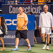 August 25, 2016, New Haven, Connecticut: <br /> John McEnroe is introduced during the Men's Legends Event on Day 7 of the 2016 Connecticut Open at the Yale University Tennis Center on Thursday, August  25, 2016 in New Haven, Connecticut. <br /> (Photo by Billie Weiss/Connecticut Open)