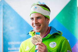 Zan Kosir during Arrival of Zan Kosir, Bronze medalist at Olympic Games in Pyeongchang 2018, on February 26, 2018 in Aerodrom Ljubljana, Letalisce Jozeta Pucnika, Kranj, Slovenia. Photo by Ziga Zupan / Sportida