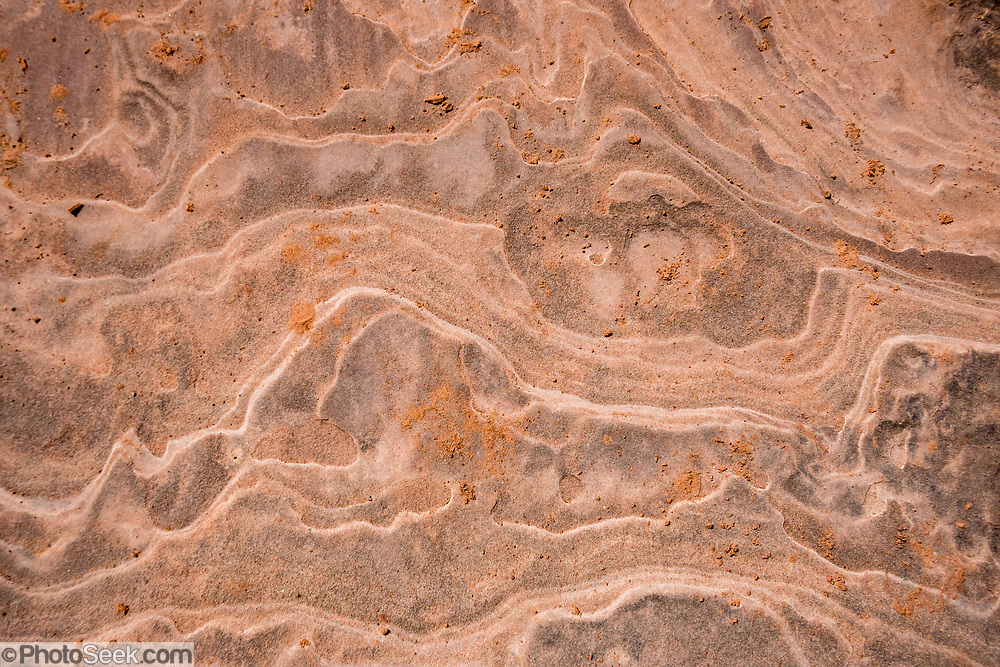 Sandstone rock pattern. Courthouse Towers, Park Avenue Trail, in Arches National Park, Moab, Utah, USA.
