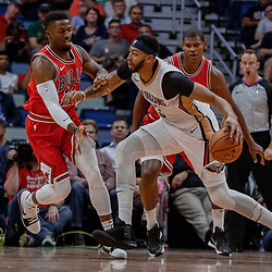 Oct 3, 2017; New Orleans, LA, USA; New Orleans Pelicans forward Anthony Davis (23) is defended by Chicago Bulls guard David Nwaba (11) during the first half of a NBA preseason game at the Smoothie King Center. Mandatory Credit: Derick E. Hingle-USA TODAY Sports