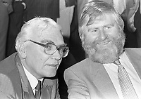 John Sheahan of The Dubliners with City Manager Frank Feely at the reception in Guinness Storehouse to launch the film The Dubliner's Dublin, circa October 1988 (Part of the Independent Newspapers Ireland/NLI Collection).