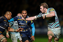 Leicester Flanker (#6) Tom Croft in action during the second half of the match - Photo mandatory by-line: Rogan Thomson/JMP - Tel: Mobile: 07966 386802 04/01/2012 - SPORT - RUGBY - Sixways - Worcester. Worcester Warriors v Leicester Tigers - Aviva Premiership.
