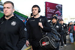 Ollie Devoto and the rest of the Exeter Chiefs team arrive at the Stoop - Mandatory byline: Patrick Khachfe/JMP - 07966 386802 - 29/02/2020 - RUGBY UNION - The Twickenham Stoop - London, England - Harlequins v Exeter Chiefs - Gallagher Premiership