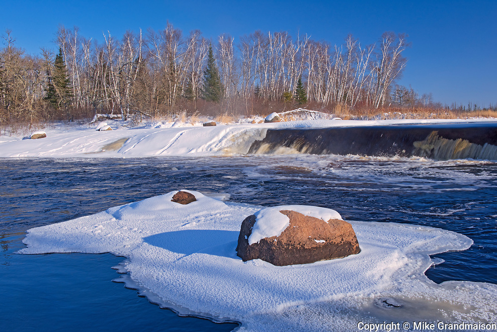 Ice and snow at Rainbow Falls on White Lake<br />Whiteshell Provincial Park<br />Manitoba<br />Canada
