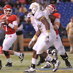 Dec 19, 2009; St. Petersburg, Fla., USA; Rutgers quarterback Tom Savage (7) looks for a receiver during NCAA Football action in Rutgers' 45-24 victory over Central Florida in the St. Petersburg Bowl at Tropicana Field.