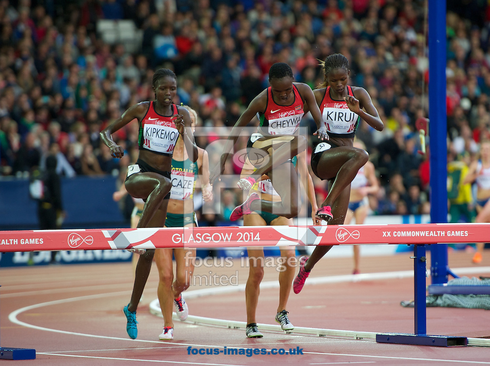 (LtoR) Joan Kipkemoi kenya, Milcah chemos Cheywa Kenya and Purity cherotich Kirui Kenya competing in the Women's 3000m Steeplechase on day four of the athletics  at Hampden Park, Glasgow<br /> Picture by Alan Stanford/Focus Images Ltd +44 7915 056117<br /> 29/07/2014