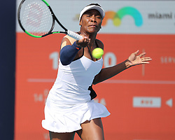 March 24, 2019 - Miami Gardens, Florida, United States Of America - MIAMI GARDENS, FLORIDA - MARCH 24:  Venus Williams on Day 7 of the Miami Open Presented by Itau at Hard Rock Stadium on March 24, 2019 in Miami Gardens, Florida..People: Venus Williams. (Credit Image: © SMG via ZUMA Wire)