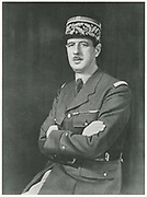 Charles Andre Joseph Marie De Gaulle, 1940. De Gaulle (1890-1970}, French soldier, statesman and author in uniform as a General. During WWII  he was leader of the Free French and in 1944, after the liberation, he became head of the provisional government. In December 1958 he was elected first president of the Fifth Republic.