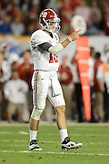 January 7, 2013: Alabama quarterback AJ McCarron (10) during 1st half of the Discover BCS National Championship game between the Alabama Crimson Tide and the Notre Dame Fighting Irish at Sun Life Stadium in Miami Gardens, Fl