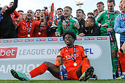 CHAMPIONS Luton Town midfielder Pelly Ruddock (17) and teammates celebrate after winning the league title after their win in the EFL Sky Bet League 1 match between Luton Town and Oxford United at Kenilworth Road, Luton, England on 4 May 2019.