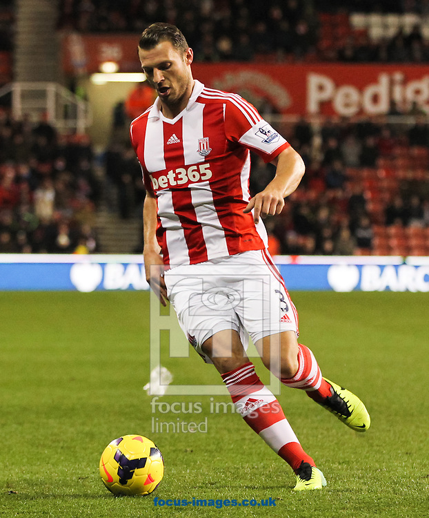 Erik Pieters of Stoke City in possession of the ball during the Barclays Premier League match at the Britannia Stadium, Stoke-on-Trent<br /> Picture by Tom Smith/Focus Images Ltd 07545141164<br /> 12/02/2014