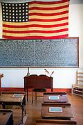 Old schoolroom at Vermilionville history museum of Acadian (Cajun), Creole, Native American cultures, Lafayette, Louisiana USA