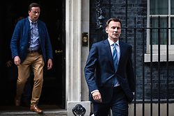 © Licensed to London News Pictures. 20/07/2019. London, UK. Foreign Secretary Jeremy Hunt (R) seen on Downing Street after a meeting. The Iranian Ambassador to the United Kingdom has been summoned over the seizure of  the Stena Impero tanker. Photo credit: Rob Pinney/LNP