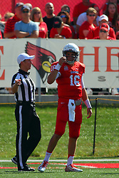 17 September 2016: REFEREE<br /> Fiore Stabilo speaks with Jake Kolbe. NCAA FCS Football game between Eastern Illinois Panthers and Illinois State Redbirds for the 105th Mid-America Classic on Family Dat at Hancock Stadium in Normal IL (Photo by Alan Look)