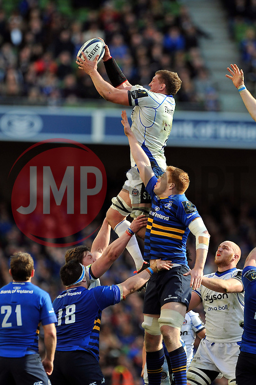 Bath Rugby captain Stuart Hooper wins the ball at a lineout - Photo mandatory by-line: Patrick Khachfe/JMP - Mobile: 07966 386802 04/04/2015 - SPORT - RUGBY UNION - Dublin - Aviva Stadium - Leinster Rugby v Bath Rugby - European Rugby Champions Cup