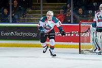 KELOWNA, CANADA - JANUARY 30: Dalton Gally #3 of the Kelowna Rockets skates against the Seattle Thunderbirds  on January 30, 2019 at Prospera Place in Kelowna, British Columbia, Canada.  (Photo by Marissa Baecker/Shoot the Breeze)