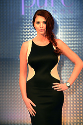 Amy Childs attends fashion trade event Pure London with her Amy Childs Collection, at Olympia London, London, United Kingdom. Monday, 10th February 2014. Picture by Nils Jorgensen / i-Images