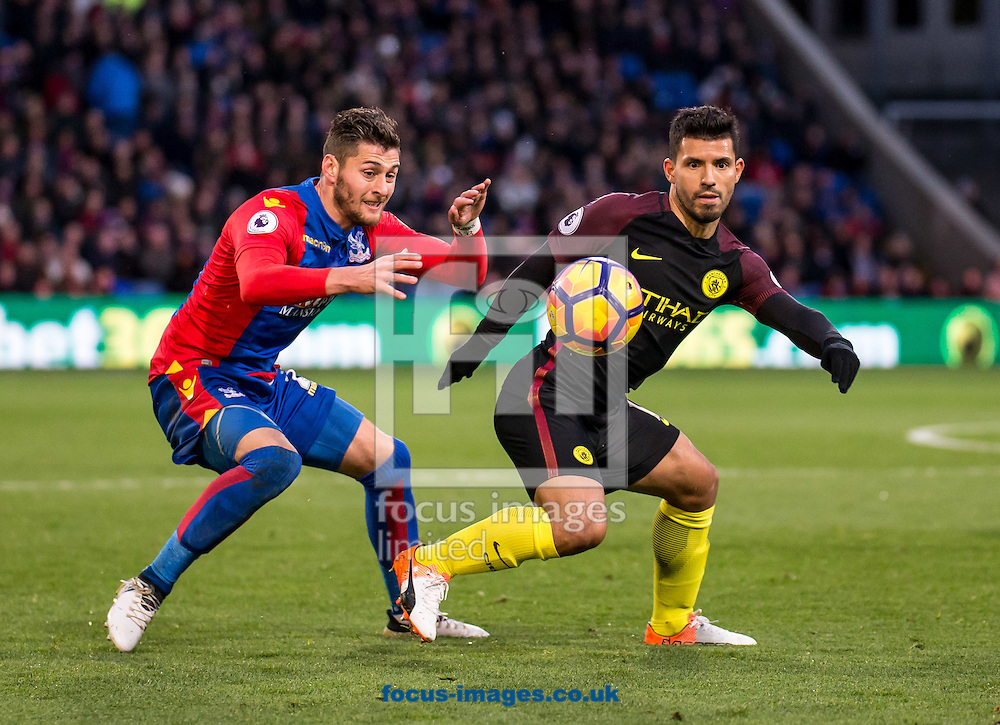Joel Ward of Crystal Palace and Sergio Aguero of Manchester City during the Premier League match at Selhurst Park, London<br /> Picture by Liam McAvoy/Focus Images Ltd 07413 543156<br /> 19/11/2016