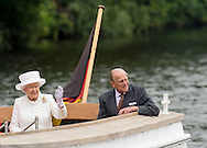 Queen Elizabeth ll and Prince Phillip, Duke of Edinburgh accompanied by President Gauck and Daniela Schadt take a boat ride along the river Spree during their state Visit to Germany.