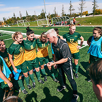 Women's Soccer Head Coach, Bob Maltman of the Regina Cougars during the Women's Soccer home game on Sun Sep 09 at U of R Field. Credit: Arthur Ward/Arthur Images