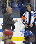 Nebraska-Omaha Mavericks head coach Dean Blais voices his displeasure after the end of teh third period about a missed call that cost his team their Friday night game against the Lake Superior State Lakers in Sault Ste. Marie, Michigan.