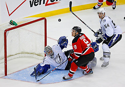 Nov 5, 2008; Newark, NJ, USA; New Jersey Devils left wing Zach Parise (9) looks for the rebound after a save by Tampa Bay Lightning goalie Mike Smith (41) during the third period at the Prudential Center.
