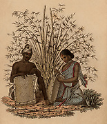 Indian basket-maker and his wife at work. Hand-coloured engraving published Rudolph Ackermann, London, 1822.
