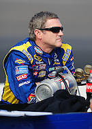 Nov. 12 2011; Avondale, AZ, USA; NASCAR Sprint Cup Series driver Bobby Labonte (47) reacts on pit road during qualifying for the Kobalt Tool 500 at Phoenix International Raceway. Mandatory Credit: Jennifer Stewart-US PRESSWIRE