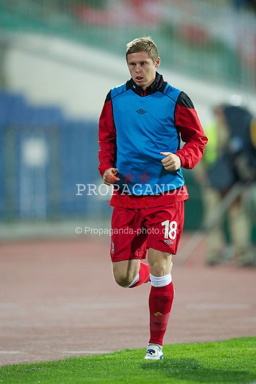 SOFIA, BULGARIA - Tuesday, October 11, 2011: Wales' substitute Simon Church warms-up during the UEFA Euro 2012 Qualifying Group G match against Bulgaria at the Vasil Levski National Stadium. (Pic by David Rawcliffe/Propaganda)