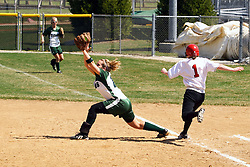 05 April 2008:  Valerie Hackett stretches towards 2nd to grab a throw that puts out Meghan Roman. The Carthage College Lady Reds lost the first game of this double header to the Titans of Illinois Wesleyan 4-1 at Illinois Wesleyan in Bloomington, IL