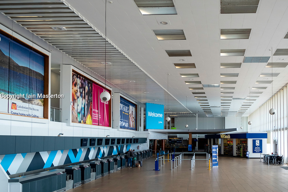 Interior of empty passenger terminal at Prestwick Airport in Ayrshire, Scotland, UK