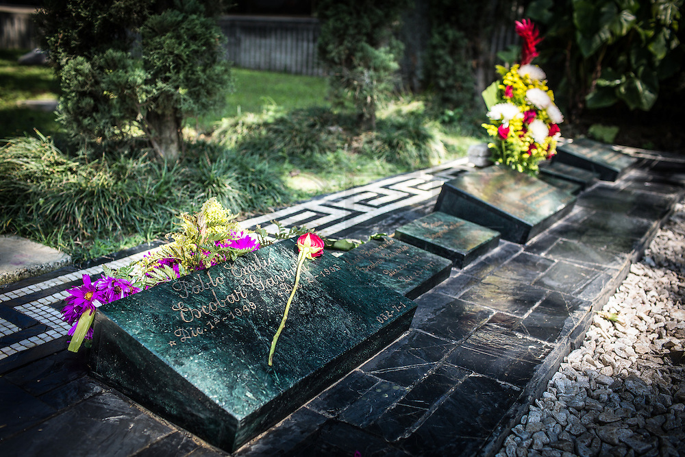 "2015/11/20- Medellín, Colombia: Pablo Escobar tomb in Montesacro Cemetery in Medellín. Pablo Escobar was killed while tempting to escape on the 2nd of December 1993, one day after he turned 44 years old.   Tours focusing on the life and death of Pablo Escobar are becoming quite popular among international tourists that visit Medellín. In recent times more than 10 tour operators have started to give the tour, helped by the interest generated by Netflix ""Narcos"" series. (Eduardo Leal)"