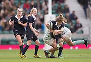 Twickenham, United Kingdom. Ellen O'CONNELL halted by the defenders, during the 2015 Women's Varsity Match, Oxford vs Cambridge, RFU Twickenham Stadium, England.<br /> <br /> Thursday  10/12/2015<br /> <br /> [Mandatory Credit. Peter SPURRIER/Intersport Images].