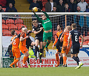 14th April 2018, Tannadice Park, Dundee, Scotland; Scottish Championship football, Dundee United versus Falkirk; Deniz Dogan Mehmet of Dundee United clutches a cross