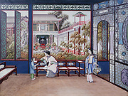 Chinese domestic scene. Women and child in room overlooking courtyard garden. Chinese school c1820. Gouache.