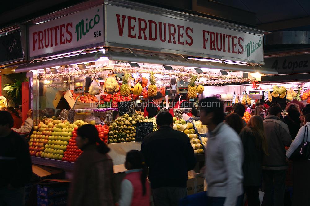 Fruit and Vegetable market in Barcelona, Spain<br />