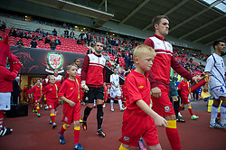 LLANELLI, WALES - Wednesday, August 15, 2012: Wales' goalkeeper Boaz Myhill walks out to face Bosnia-Herzegovina during the international friendly match at Parc y Scarlets. (Pic by David Rawcliffe/Propaganda)