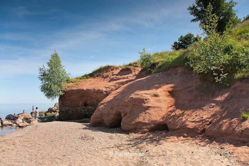 Kallaste Sandstone Outcrop by Lake Peipsi in Tartu County, Estonia