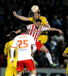 Tom Parkes of Bristol Rovers wins a header - Mandatory by-line: Robbie Stephenson/JMP - 19/04/2016 - FOOTBALL - Lamex Stadium - Stevenage, England - Stevenage v Bristol Rovers - Sky Bet League Two