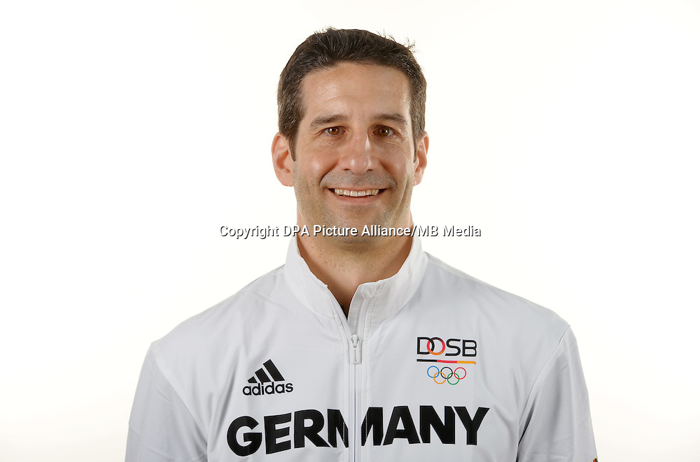 Florian Frank poses at a photocall during the preparations for the Olympic Games in Rio at the Emmich Cambrai Barracks in Hanover, Germany. July 06, 2016. Photo credit: Frank May/ picture alliance. | usage worldwide