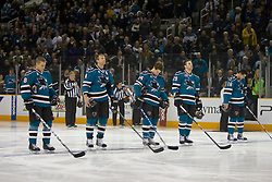December 11, 2009; San Jose, CA, USA; San Jose Sharks center Joe Pavelski (8) and defenseman Rob Blake (4) and defenseman Marc-Edouard Vlasic (44) and left wing Ryane Clowe (29) and right wing Devin Setoguchi (16) before the game against the Dallas Stars at HP Pavilion. Dallas defeated San Jose 3-2 in the 11th round of a shootout. Mandatory Credit: Jason O. Watson / US PRESSWIRE