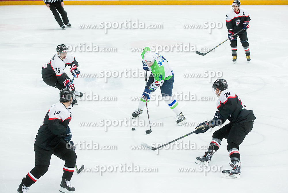 Tomaz Razingar of Slovenia during ice-hockey friendly match between National teams of Slovenia and Japan, on April 10, 2015 in Arena Podmezakla, Jesenice, Slovenia. Photo by Vid Ponikvar / Sportida