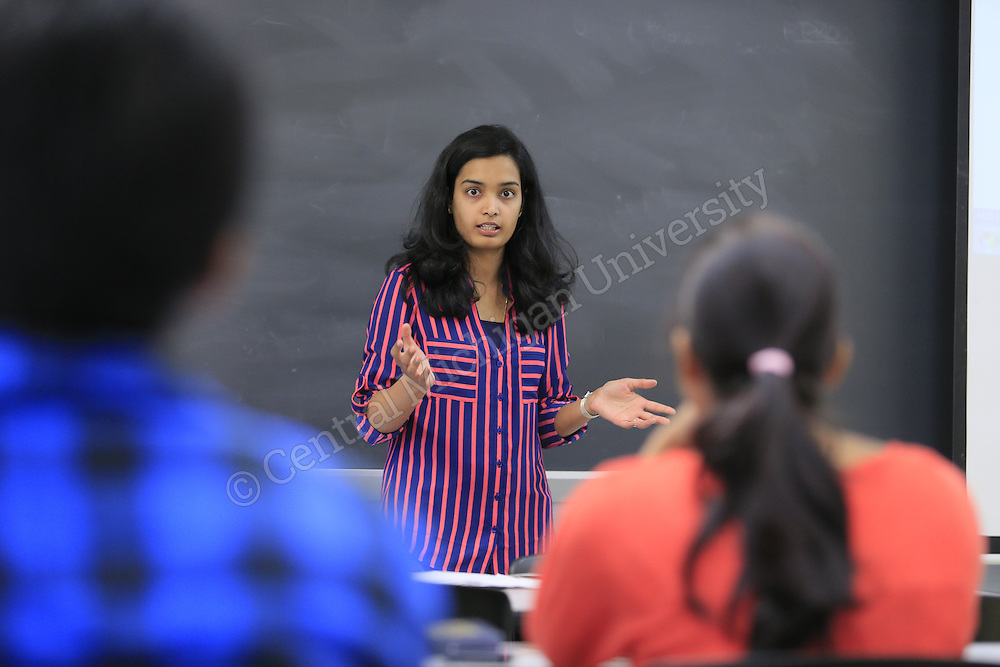 Dr. Poonam Dharam teaches ITC 520: Foundations of Computer Security in Pearce Hall on the first day of the fall semester on Monday August 31, 2015.  Photos by Steve Jessmore/Central Michigan University