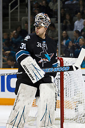 March 17, 2011; San Jose, CA, USA;  San Jose Sharks goalie Antti Niemi (31) during a time out against the Minnesota Wild during the first period at HP Pavilion. Mandatory Credit: Jason O. Watson / US PRESSWIRE