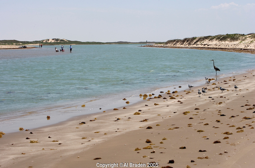 Fishing at Boca Chica, mouth of the Rio Grande/Rio Bravo River between Texas, USA and Tamaulipas, Mexico.