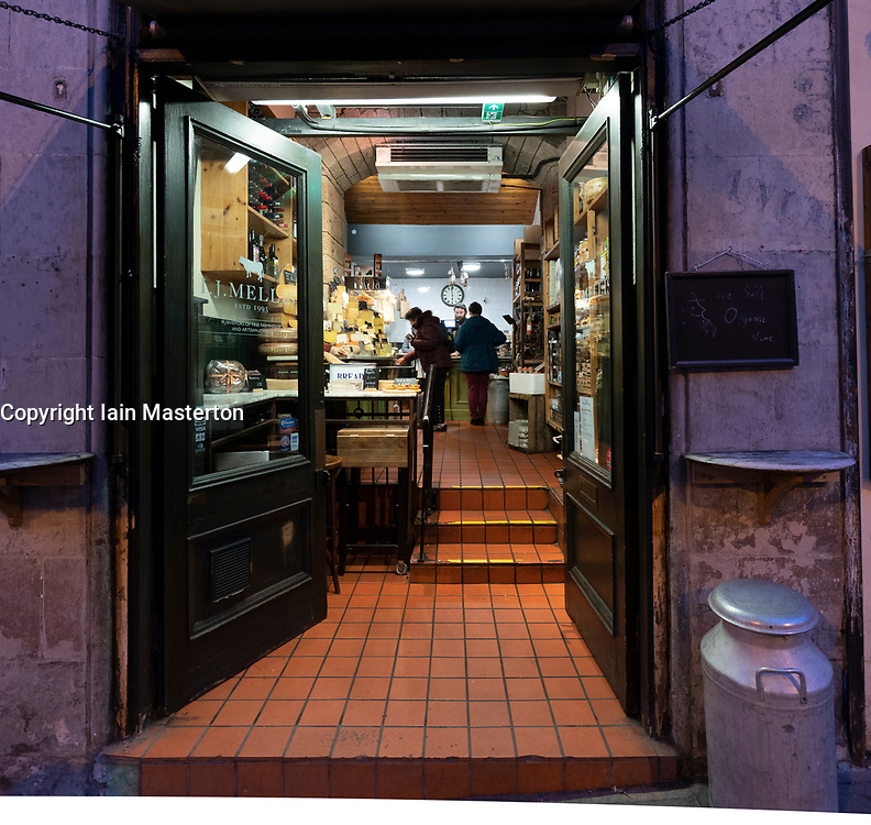 J Mellis cheesemonger shop on Victoria Street in Edinburgh Old Town, Scotland ,UK
