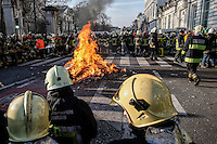 Protest action of firemen in Brussels, on December 12, 2012. BELGA PHOTO / Thierry Roge