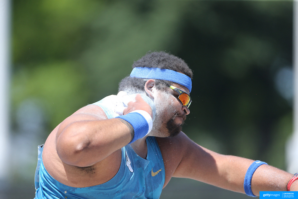 Reese Hoffa, USA, in action in the Men's Shot Put Competition during the Diamond League Adidas Grand Prix at Icahn Stadium, Randall's Island, Manhattan, New York, USA. 13th June 2015. Photo Tim Clayton