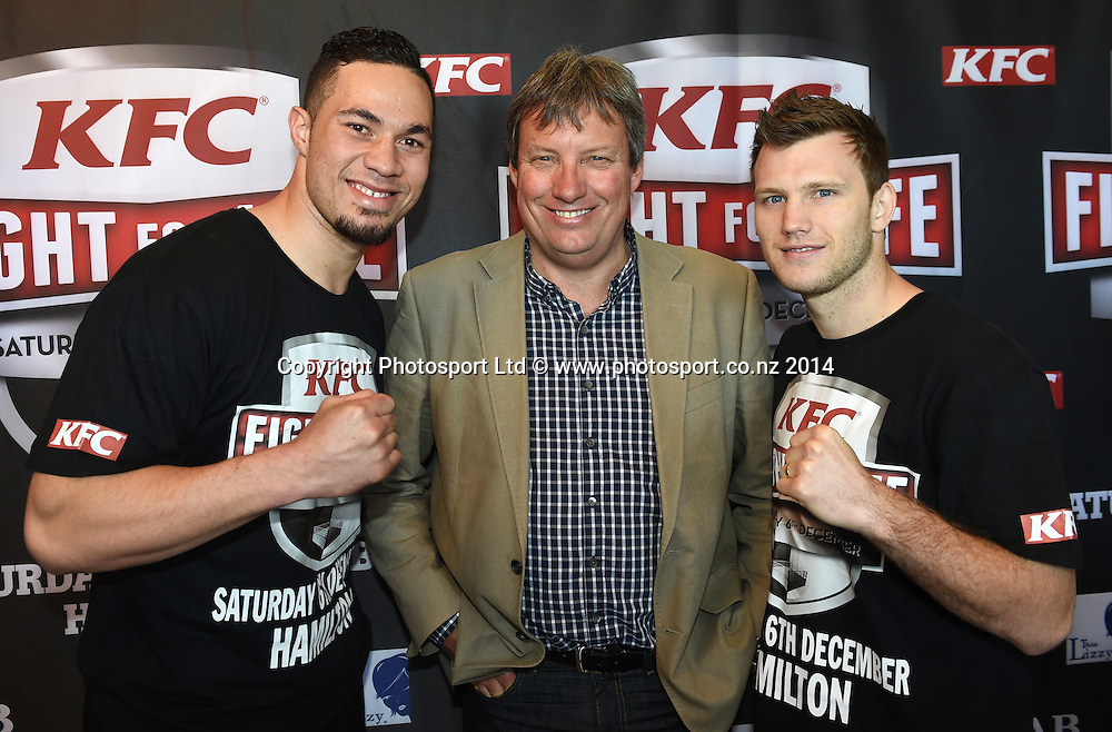 Heavyweight Boxer Joseph Parker, Martin Snedden and Jeff Horn pose for a picture during a press conference for the KFC Fight For Life by Duco Events. Auckland, New Zealand. Wednesday 3 December 2014. Photo: Andrew Cornaga/www.photosport.co.nz.
